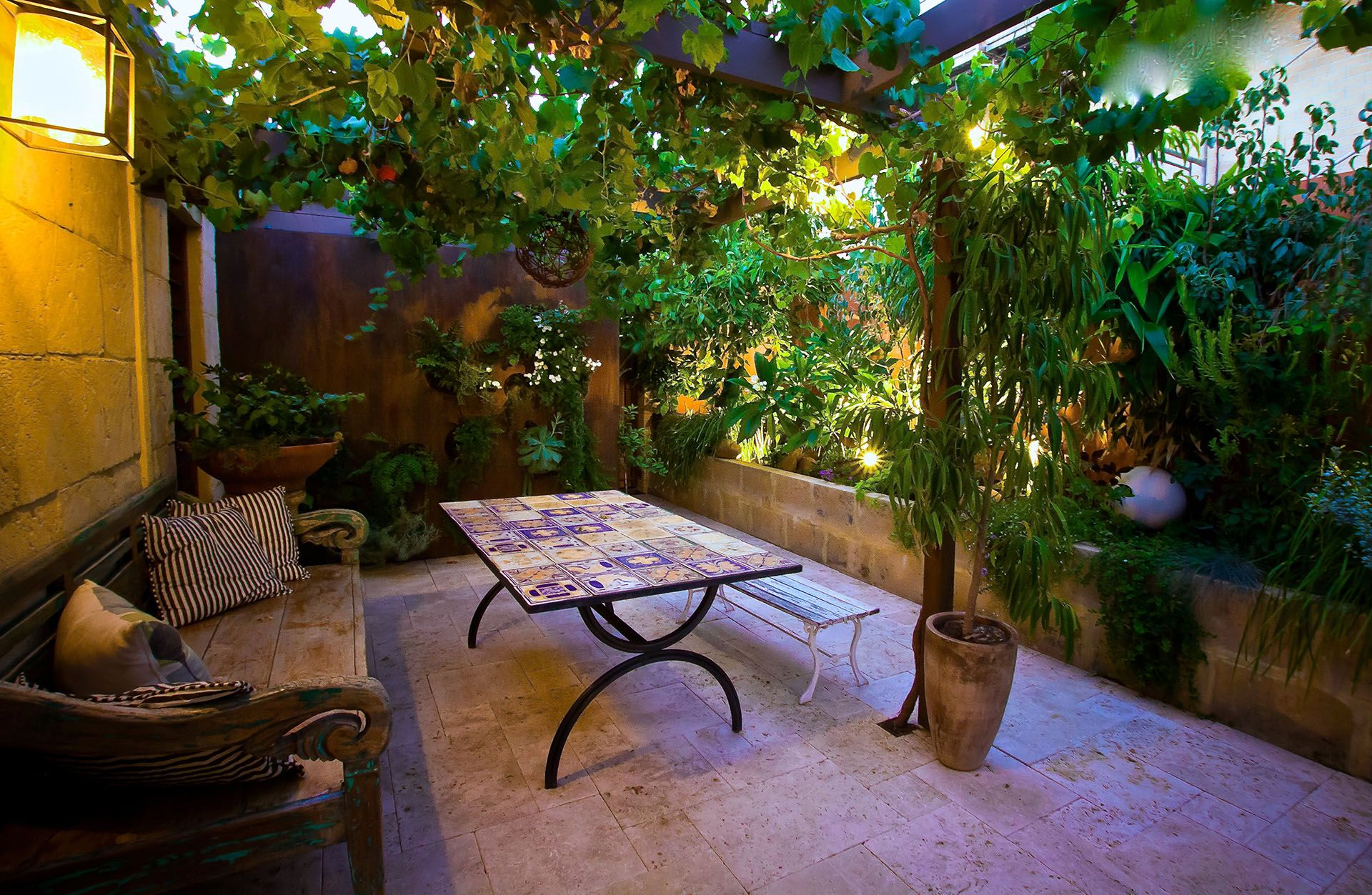 Exterior courtyard renovation mediterranean garden design for Outdoor garden ideas house
