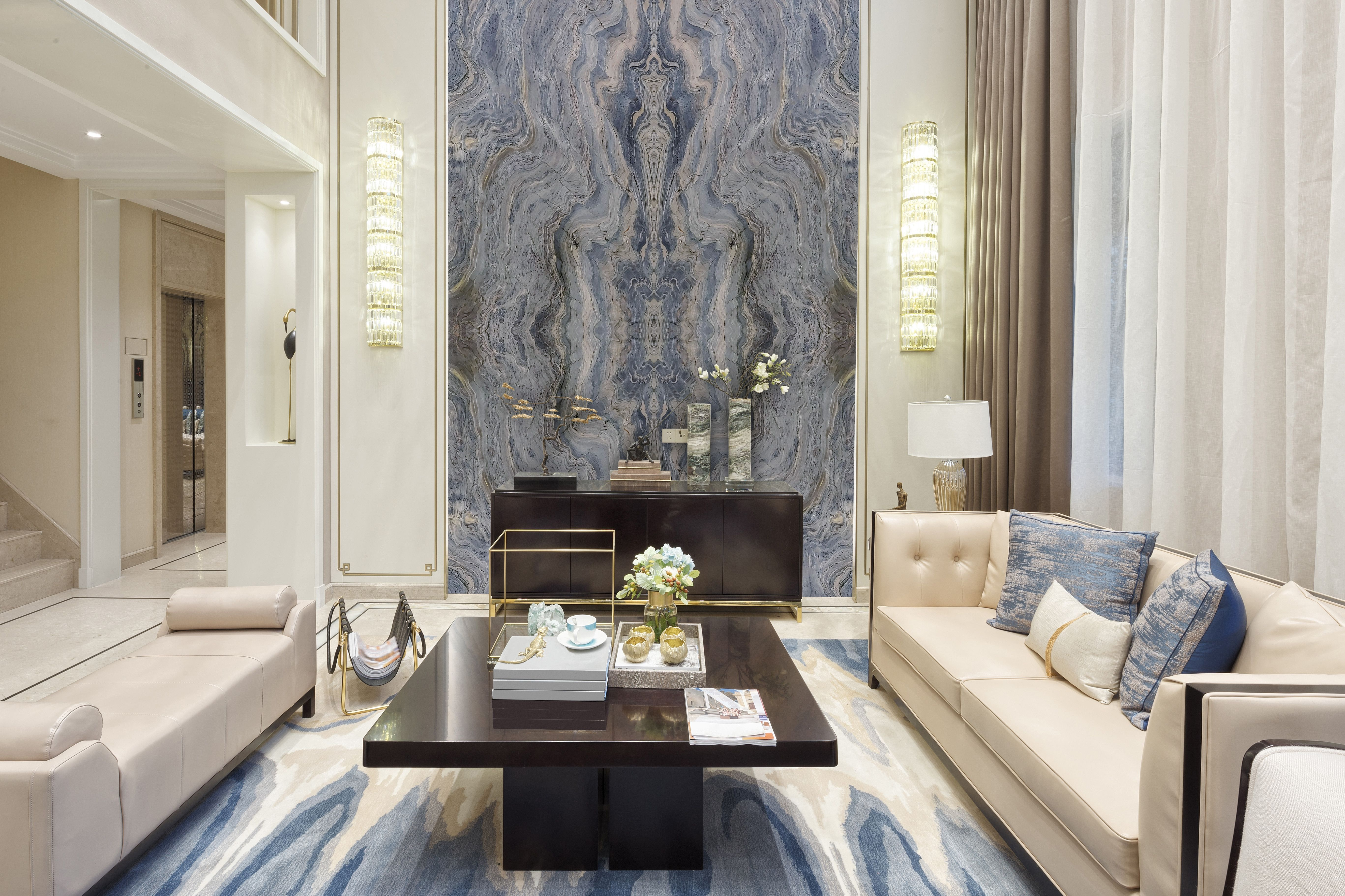 blue fusion quartzite feature wall  feature wall living