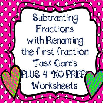 Subtracting Fractions and Mixed Numbers with Regrouping Task Cards - student sign in sheet