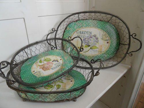 Vintage Shabby Chic French Metal Wire Storage Fruit Baskets Trays Trugs 3 Sizes