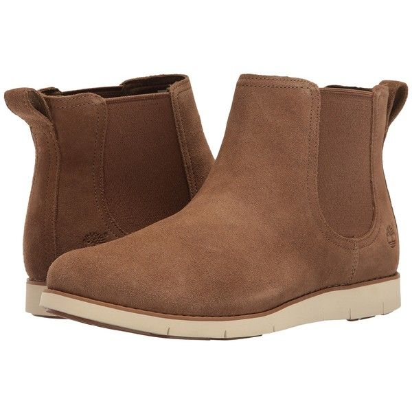 Timberland Lakeville Double Gore Chelsea (Medium Brown Suede) Women's...  (160 CAD) ❤ liked on Polyvore featuring shoes, boots, ankle boots, bootie  boots, ...