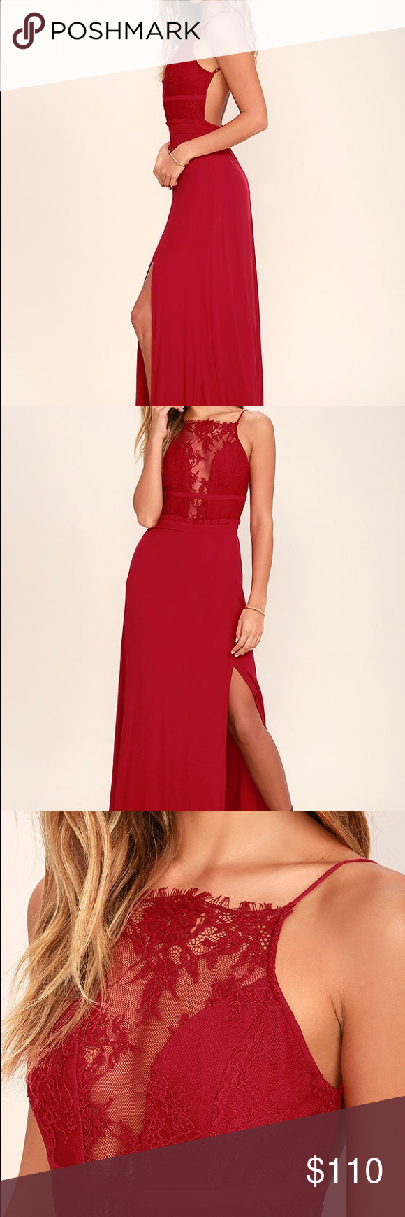 872fbdd6472 NBD red lace backless maxi dress All eyes will be on you with every step you