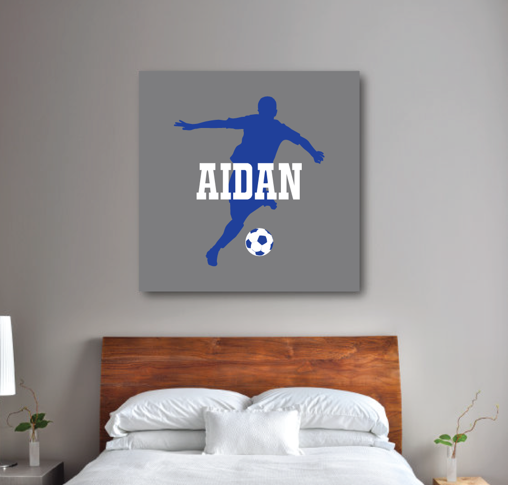 Personalized Soccer Canvas With Silhouette And Name Titanium Grey Royal Blue And White Choose Any Soccer Themed Bedroom Soccer Bedroom Soccer Themed Room