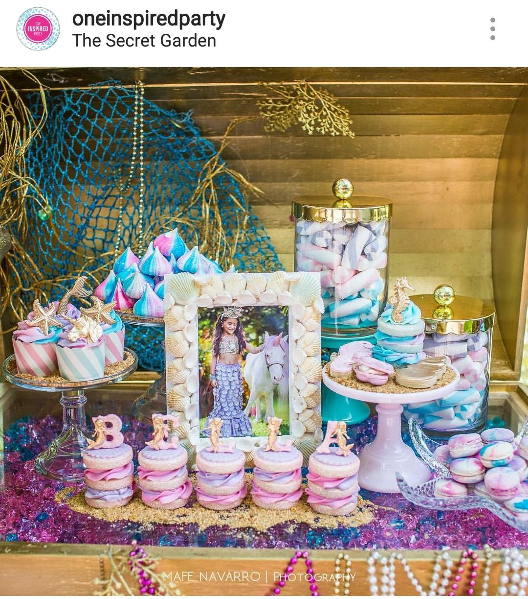 Mermaid And Unicorn Theme Birthday Party Dessert Table And Decor Rainbow Unicorn Party Mermaid Party Mermaid Birthday Party