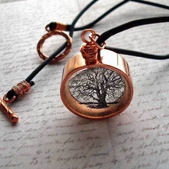 Copper resin necklacetree of life necklace twisted by underglass, $35.00