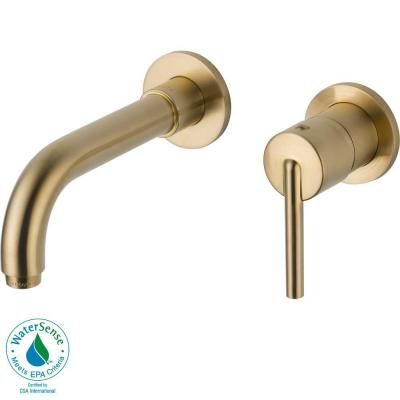 Delta Trinsic Wall Mount Single Handle Low Arc Bathroom Faucet In Champagne  Bronze     The Home Depot