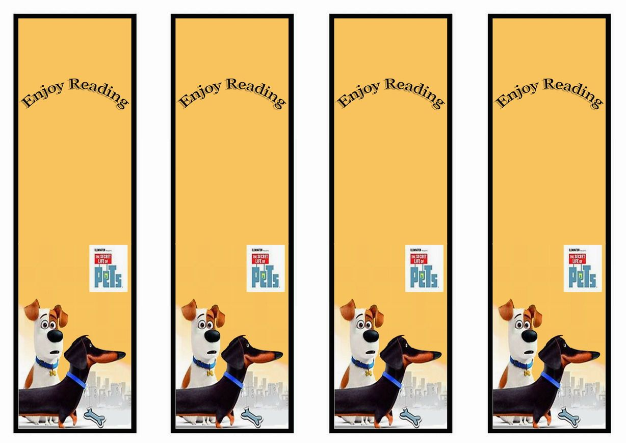 The Secret Life Of Pets Bookmarks Birthday Printable
