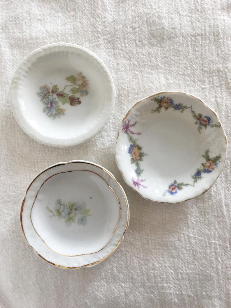 Butter Pat Plates Set Of 3 Tea Bag Holder Floral Patterns
