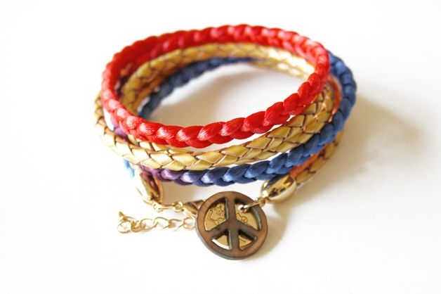Stoff Wickelarmbänder - HIPPIE LOVE RAINBOW GOLD (marine) - ein Designerstück von hippie-love bei DaWanda