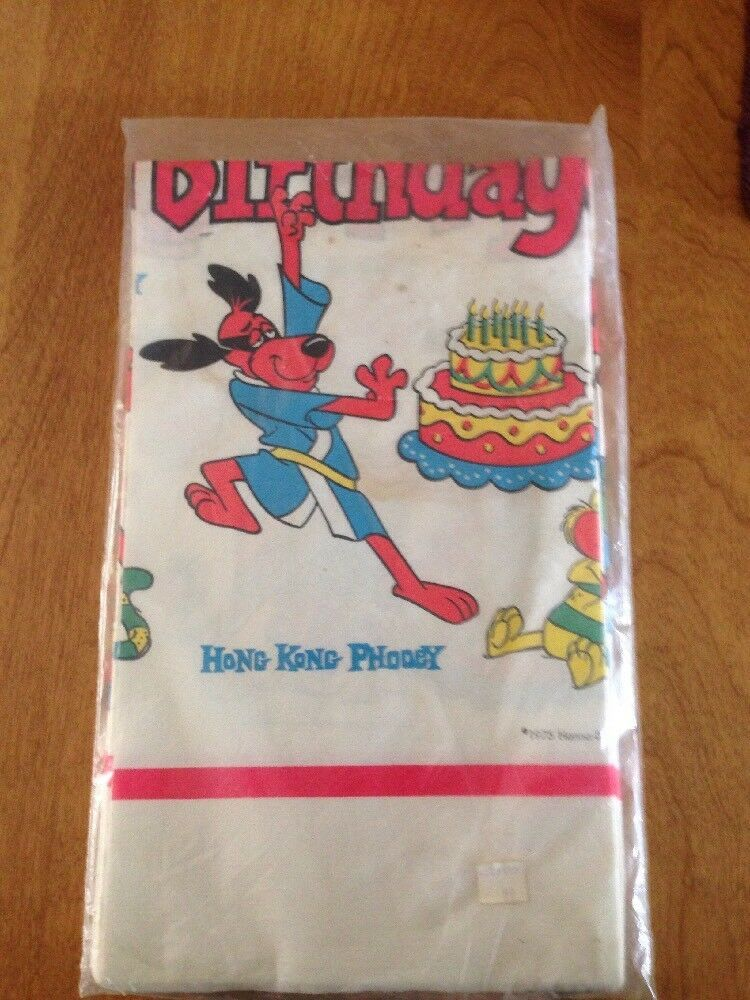 Vintage 1975 Hong Kong Phooey Happy Birthday Table Cloth Sealed Affilink