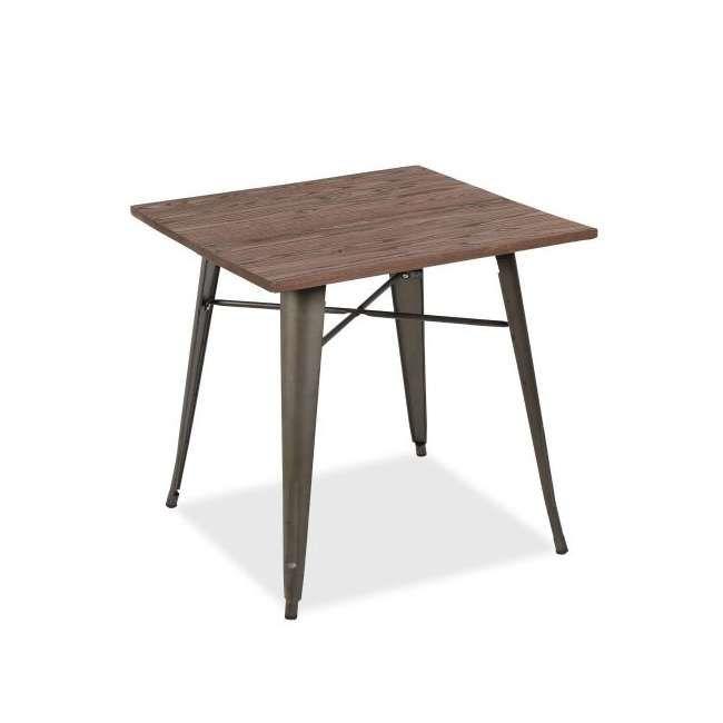 Mesa Tolix CRUPPY 80x80, tablero madera, Marrón oscuro Cocinas - mesas de diseo
