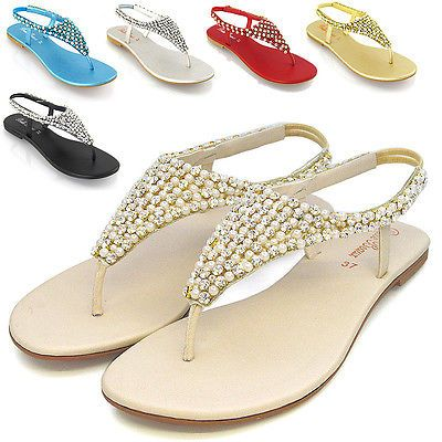 17db4998fe9c54 LADIES FLAT DIAMANTE TOE POST WOMENS PEARL HOLIDAY DRESSY PARTY SANDALS  SIZE 3-9 UK 7   EU 40   US 9