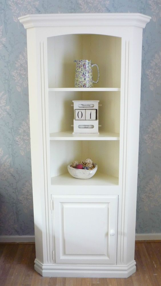 GORGEOUS Chunky Pine Corner Dresser Cabinet Painted In Farrow Ball Shabby Ccic