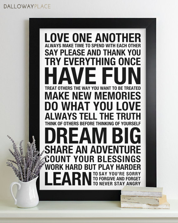 Family Rules Poster Subway Art Print House Rules Family Rules Sign Playroom Bus Roll 12x18