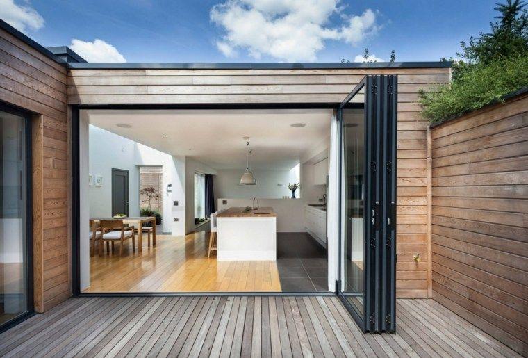 Id es am nagement cuisine ouverte sur l 39 ext rieur maison courtyard house garage doors et - Idee amenagement cuisine ouverte ...