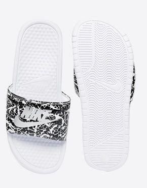195c6c572 Enlarge Nike Benassi Print White Slider Sandals
