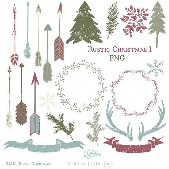 Rustic Christmas Digital Clipart Antlers Arrows Xmas Trees ...