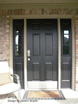Glidden Deep Onyx Front Door Makeover Little House Design Door Design Entrance Door Design Contemporary Front Doors