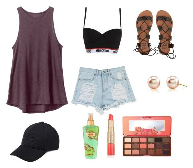 """""""Stevie"""" by octoberpaige on Polyvore featuring RVCA, Moschino, Billabong, Y-3, Victoria's Secret, Estée Lauder and Too Faced Cosmetics"""