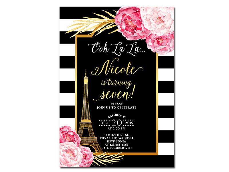 Paris Shower Invitation, Eiffel Tower Invitation, French Shower ...