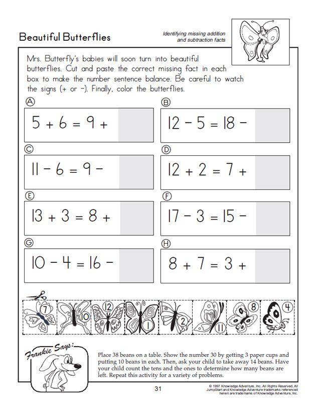 Beautiful Butterflies – Math Practice For Kids Math For Kids, Free Math  Practice, Free Math Printables