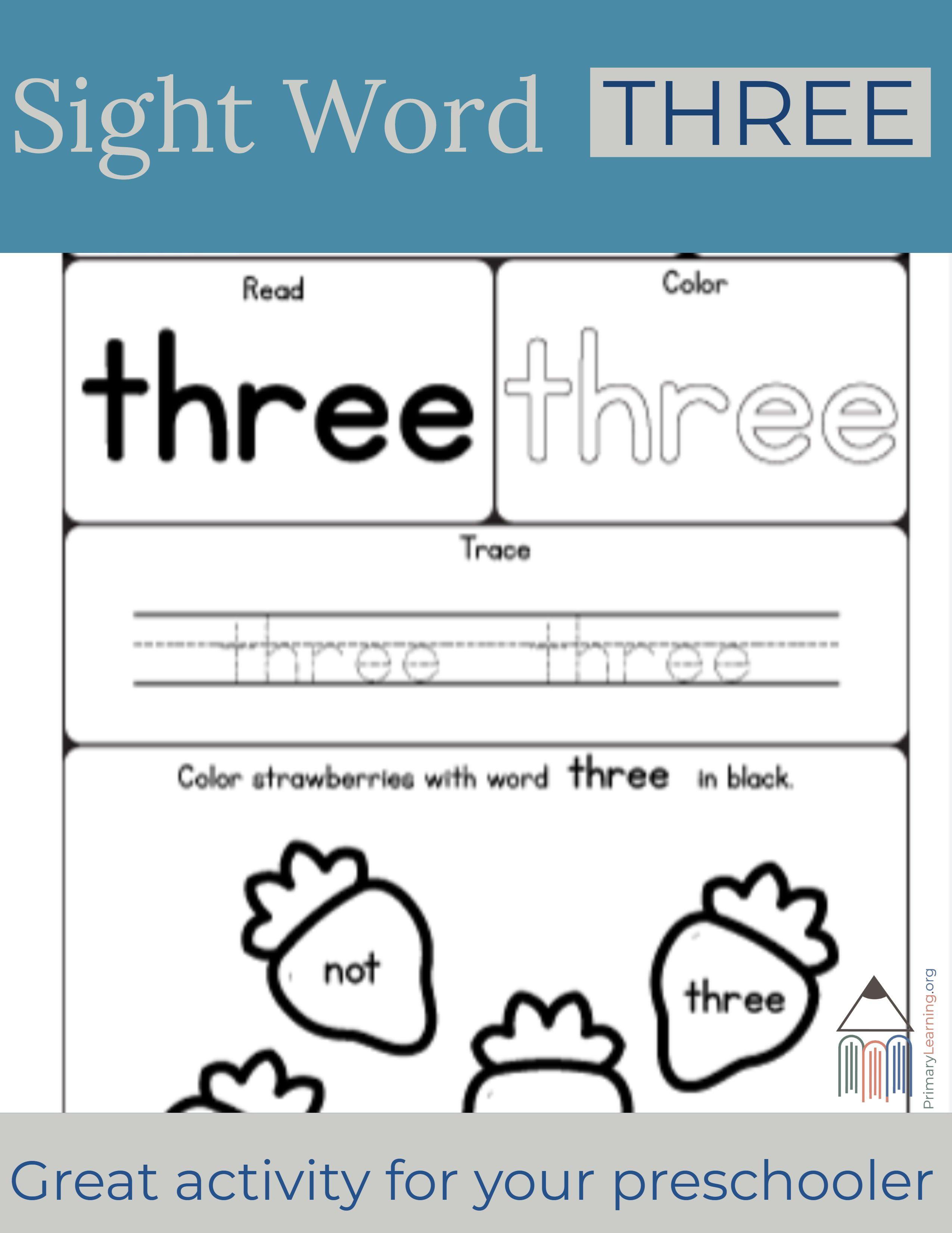 Sight Word Three Worksheet