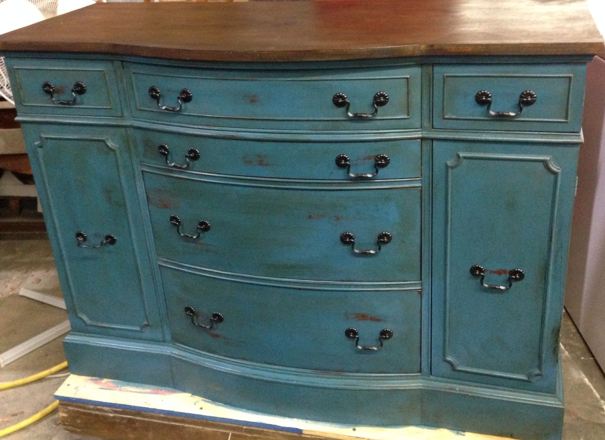 Painted in ASCP distressed with stained top and dark waxed!