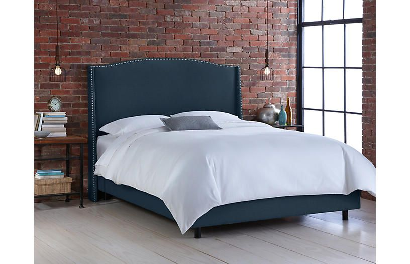 Cole Wingback Bed Navy Linen One Kings Lane Bedroom Furniture Beds Furniture Bed Furniture