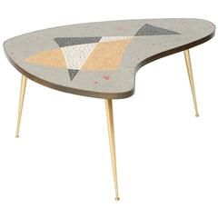 Organic Mid Century Modern Coffee Table With Br And Mosaic Germany 1950s