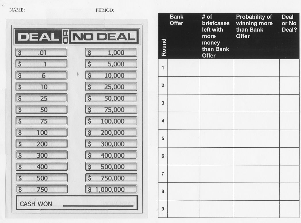 I Want To Teach Forever Lesson Idea Probability Using Deal Or No Deal