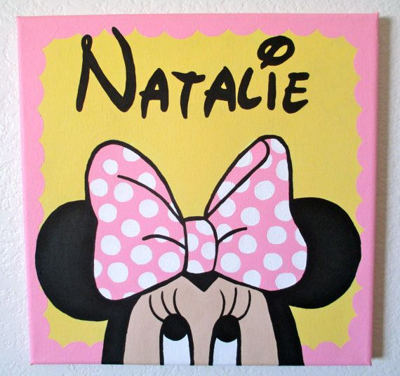 296b4d10ca02 Disney s Baby Minnie Mouse Pesonalized Birthday Canvas Art