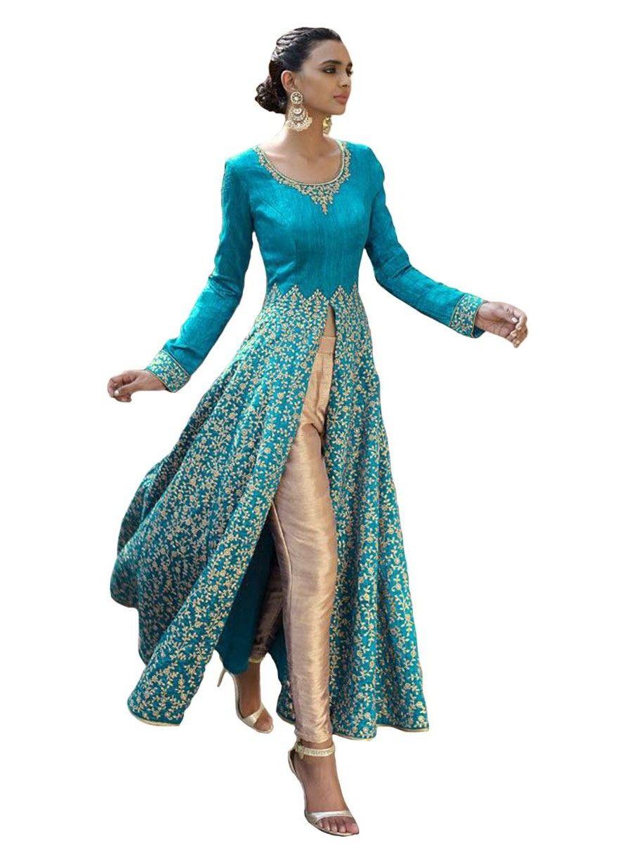 Light Blue Bhagalpuri Front Slit Dress for Wedding Party | لبس هندي ...