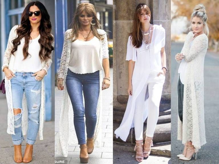 long white lace cardigan, Street style new trends http://www ...