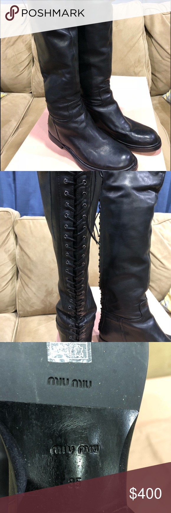 c4ca248a7033 Miu Miu Lace up back tall Boot Amazing looking boots by Miu Miu Prada.  Purchased at Barney s New York. In excellent condition. Worn twice.