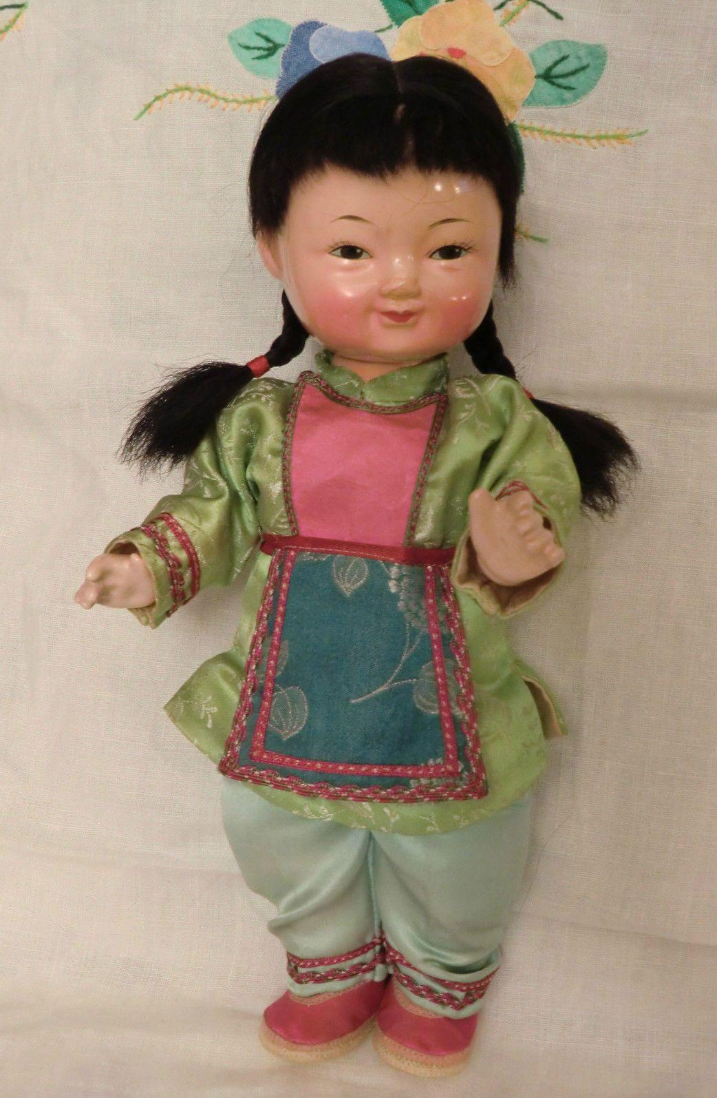 Rare Poupee Chinoise Ancienne DE Collection 25 CM Annee 50