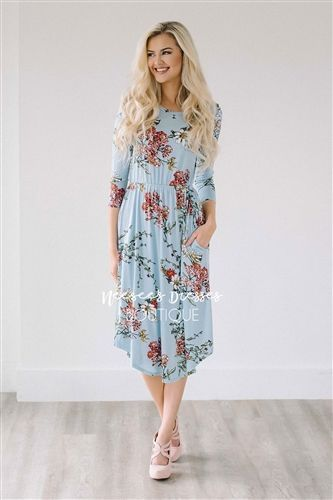 6b1bd9945cec0 Light Blue Spring Floral Pocket Modest Dress Bridesmaids Dress, Church  Dresses, dresses for church, modest bridesmaids dresses, trendy modest  dresses, ...