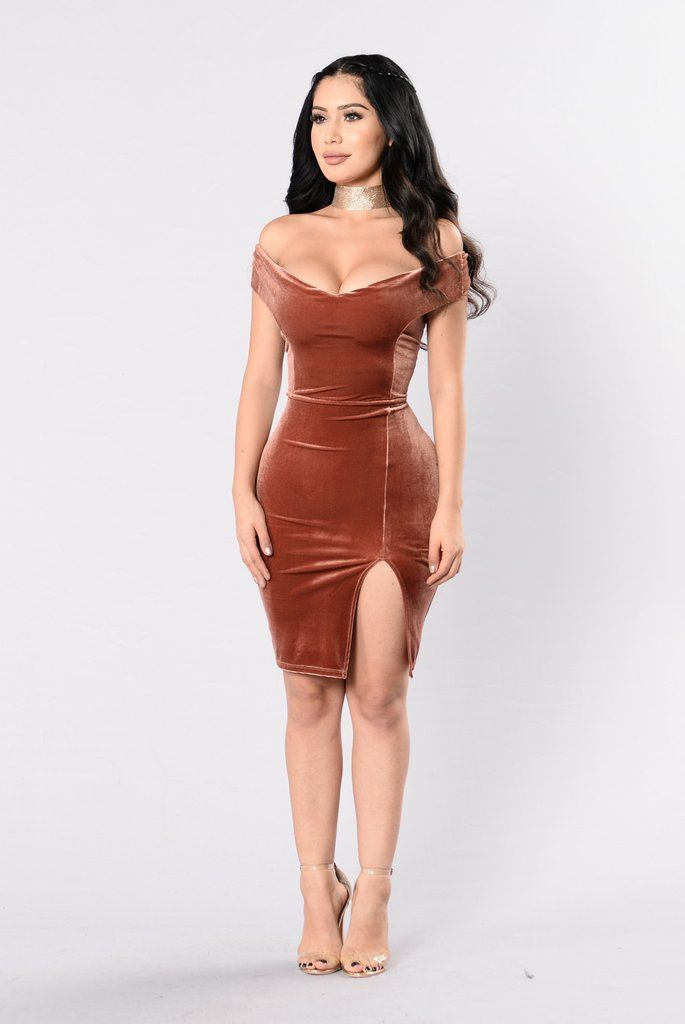 225c976aa891 Available in Chocolate - Off The Shoulder Velvet Dress - Fitted - Front  Side Slit - Made in U.S.A - 92% Polyester 8% Spandex