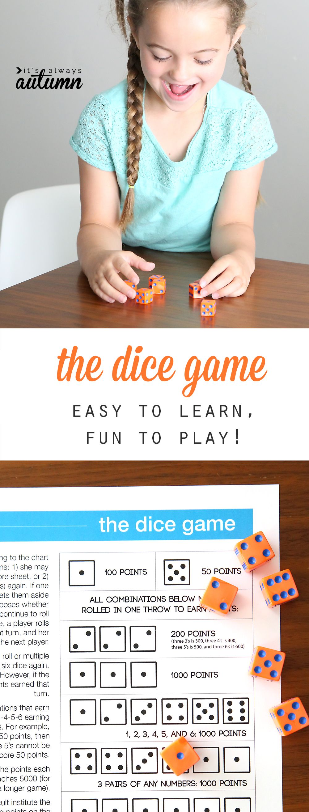 the dice game Free games for kids, Easy games for kids
