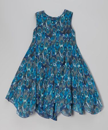 Another great find on #zulily! Blue Ikat Handkerchief Dress - Toddler & Girls by Yo Baby #zulilyfinds