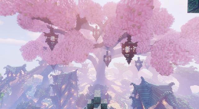 Big Sakura Tree In Middle Of Fantasy Town Minecraft Fantasy Town Minecraft Wallpaper Cute Minecraft Houses