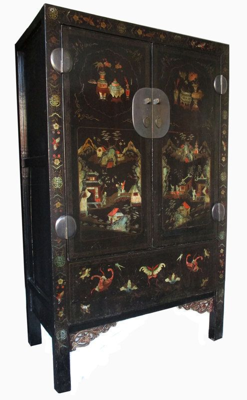 Chinese Antique Black Lacquer Cabinet With Painting Antique Chinese Furniture Chinese Antiques Antiques