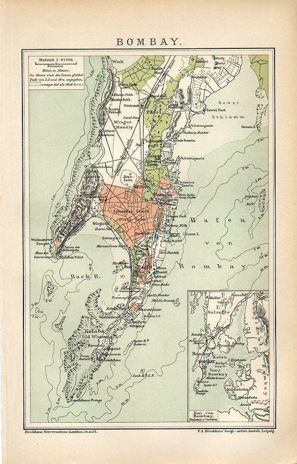 Mumbai On Map Of Asia.1894 India Mumbai Bombay City Antique Map Ebay Art For My Wall