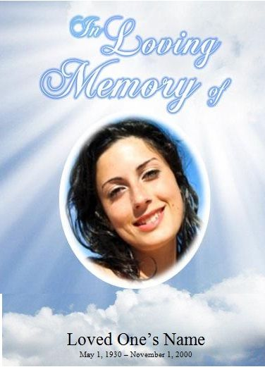 Sky Single Fold Memorial Program Announcements, Programs, and - free obituary template