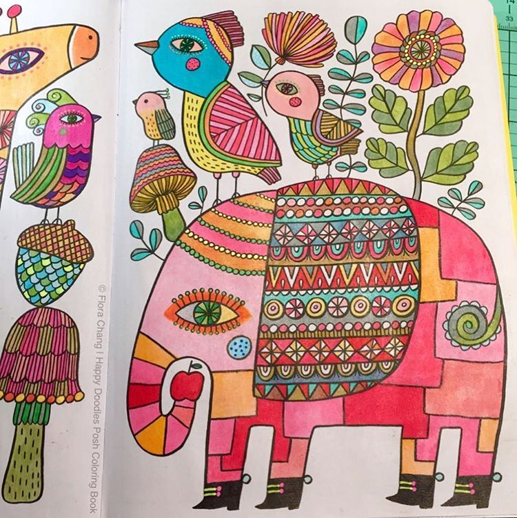 Finished Coloring Page From Flora Changs Happy Doodles PoshTM Book