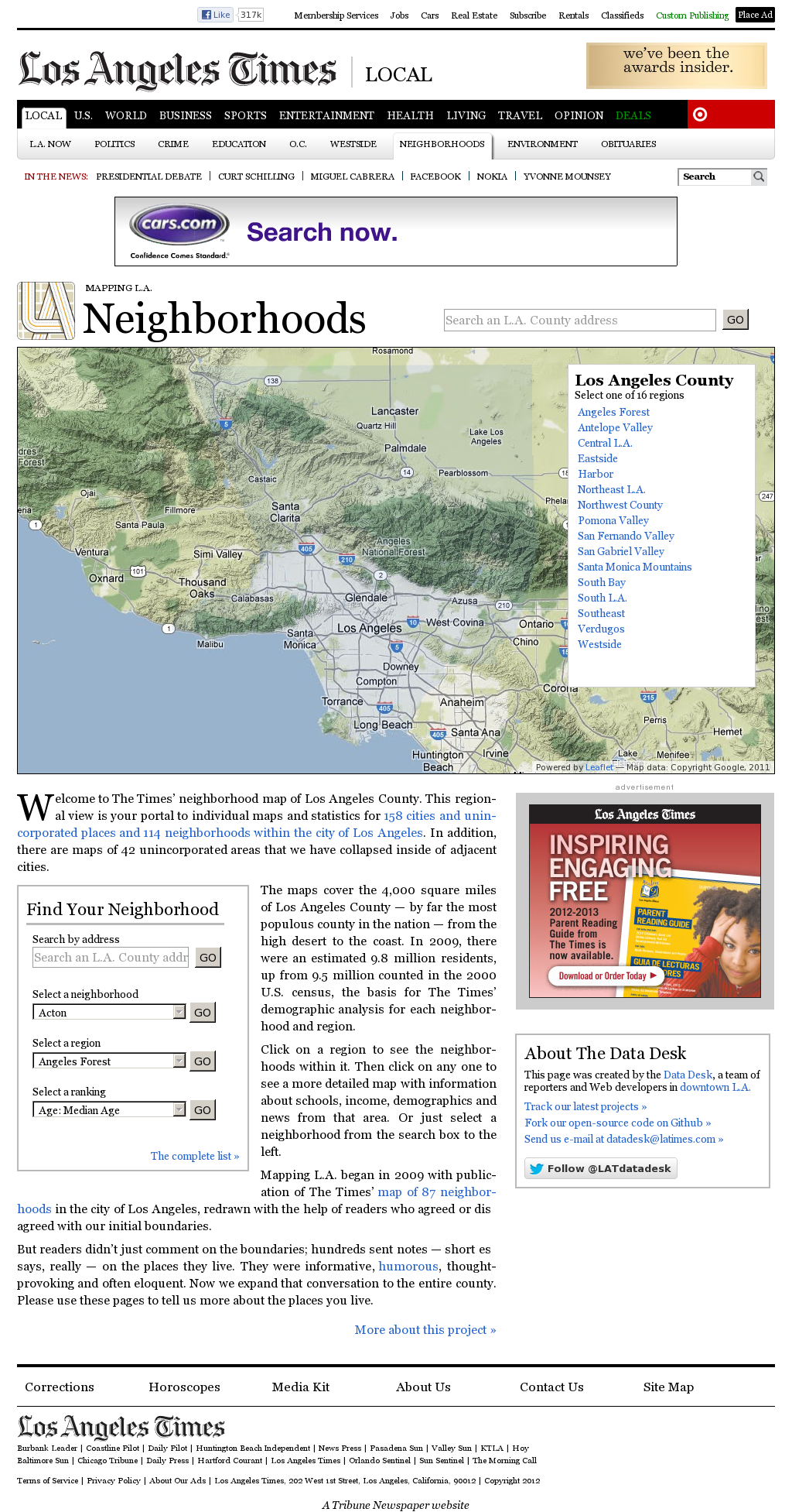 La Times Mapping La Neighborhoods Recommended By Aron Pilhofer The Neighbourhood Map Data Visualization