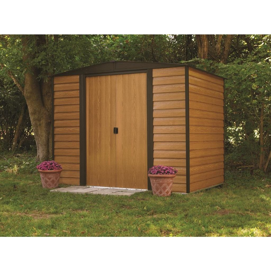 arrow shed woodridge 6 x 5 ft steel storage shed a charming hand built look with ultimate durability the arrow shed woodridge 6 x 5 ft