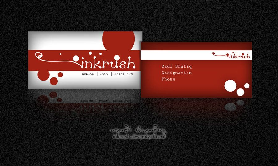 Business Card sample red by ~inkrush on deviantART  http://www.techirsh.com