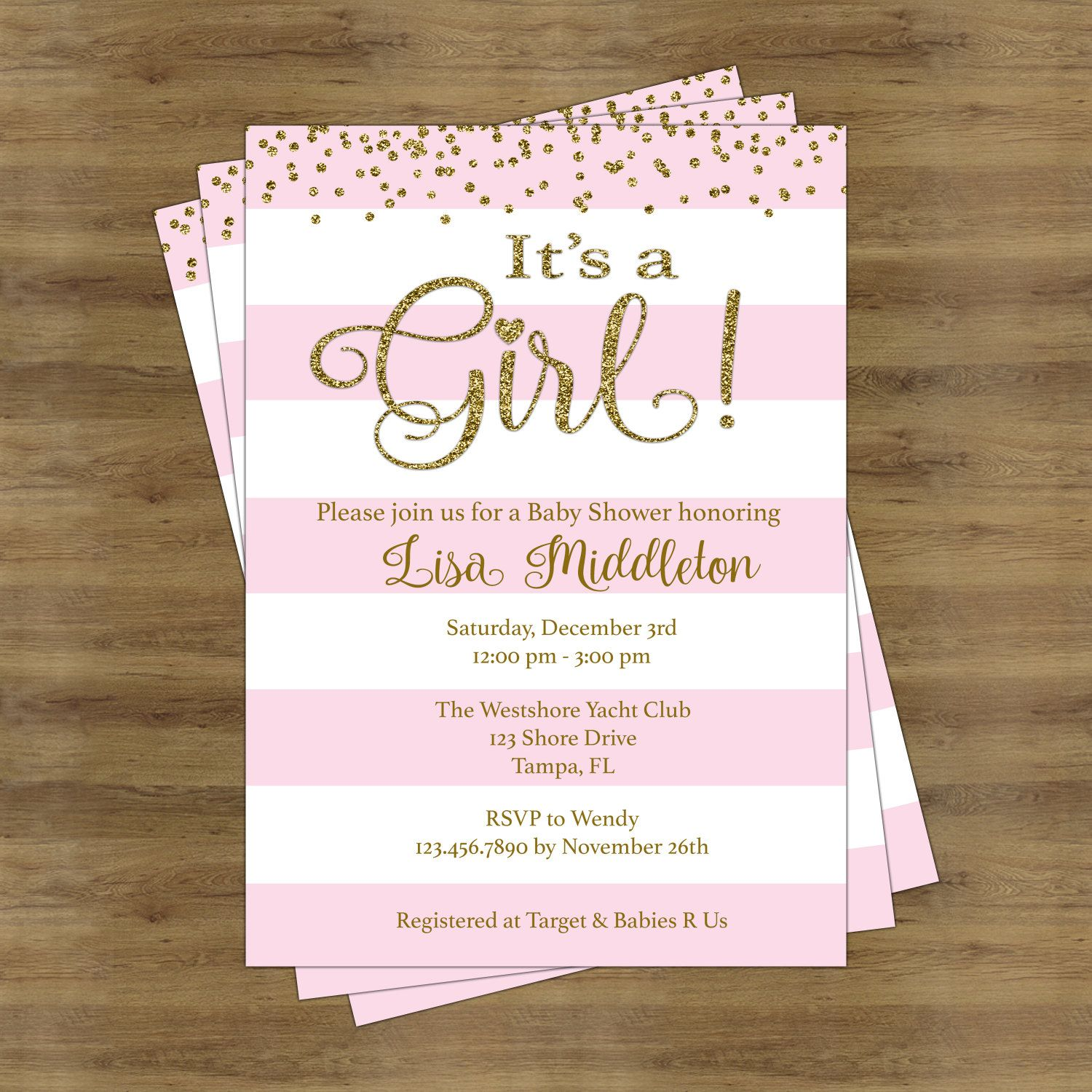 Greatest Pink and Gold Baby Shower Invites; Its a Girl Baby Shower  HS08