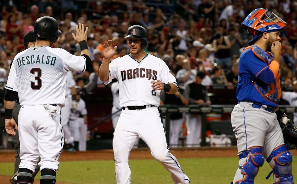 Arizona Diamondbacks Jeff Mathis And Daniel Descalso Celebrate As Both Score Runs As New York Mets Rene Rivera Baseball Games Baseball Outfit Baseball Camp