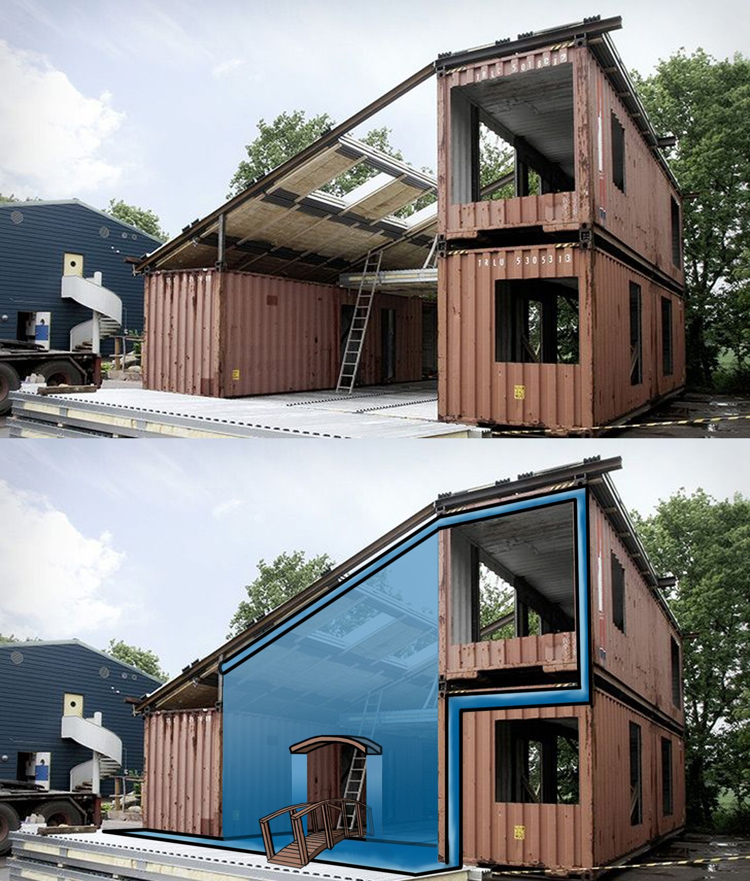 House Made From Shipping Container photoshop rendition of a house made of shipping containers using a